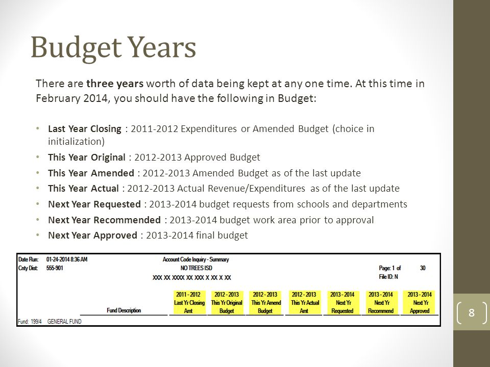 Step 1: Update Budget 9 Go to the Utilities > Update Budget Data page to update the amended and actual columns in the 2014 budget with GL File ID '3 2012-2013' ending audited totals.