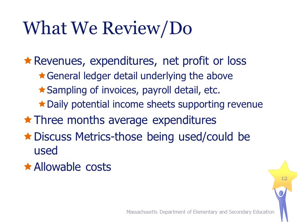 What We Review/Do  Revenues, expenditures, net profit or loss  General ledger detail underlying the above  Sampling of invoices, payroll detail, et