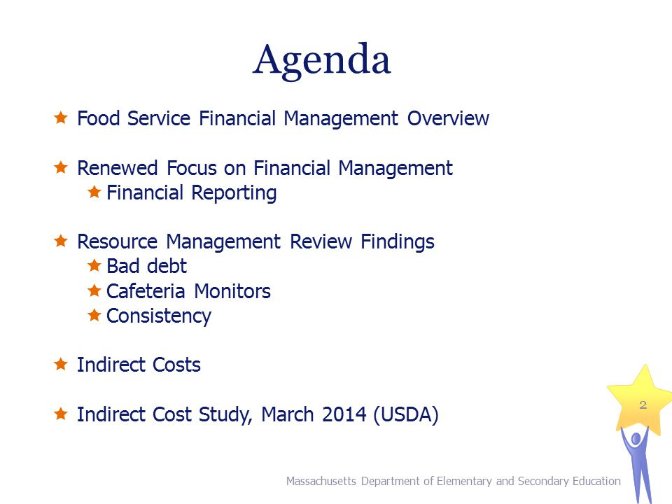 Agenda  Food Service Financial Management Overview  Renewed Focus on Financial Management  Financial Reporting  Resource Management Review Finding
