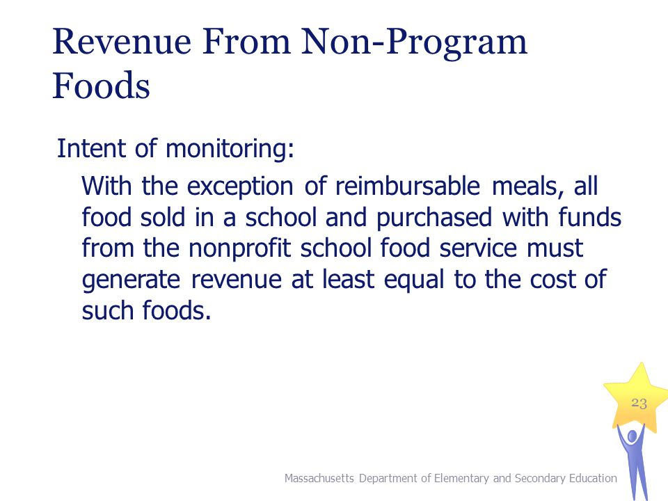 Revenue From Non-Program Foods Intent of monitoring: With the exception of reimbursable meals, all food sold in a school and purchased with funds from