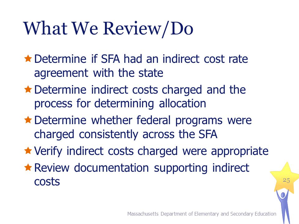What We Review/Do  Determine if SFA had an indirect cost rate agreement with the state  Determine indirect costs charged and the process for determi