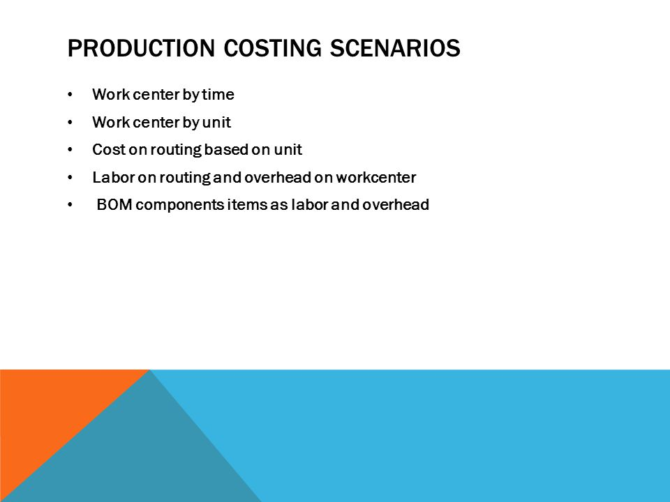 PRODUCTION COSTING SCENARIOS Work center by time Work center by unit Cost on routing based on unit Labor on routing and overhead on workcenter BOM components items as labor and overhead