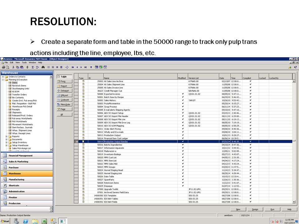 RESOLUTION:  Create a separate form and table in the 50000 range to track only pulp trans actions including the line, employee, lbs, etc.