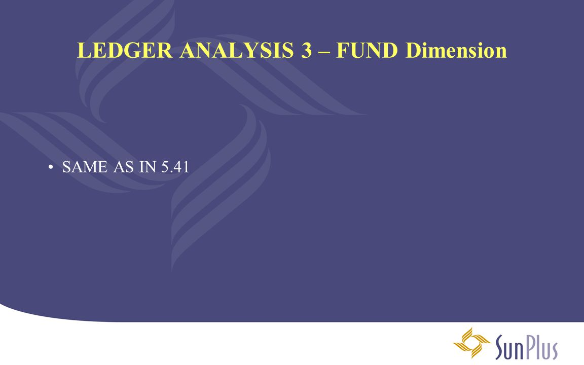 LEDGER ANALYSIS 3 – FUND Dimension SAME AS IN 5.41