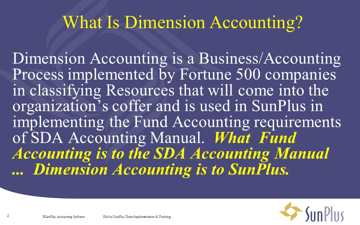 3 ©SunPlus Accounting Software Global SunPlus Team Implementation & Training Why Dimension Accounting.