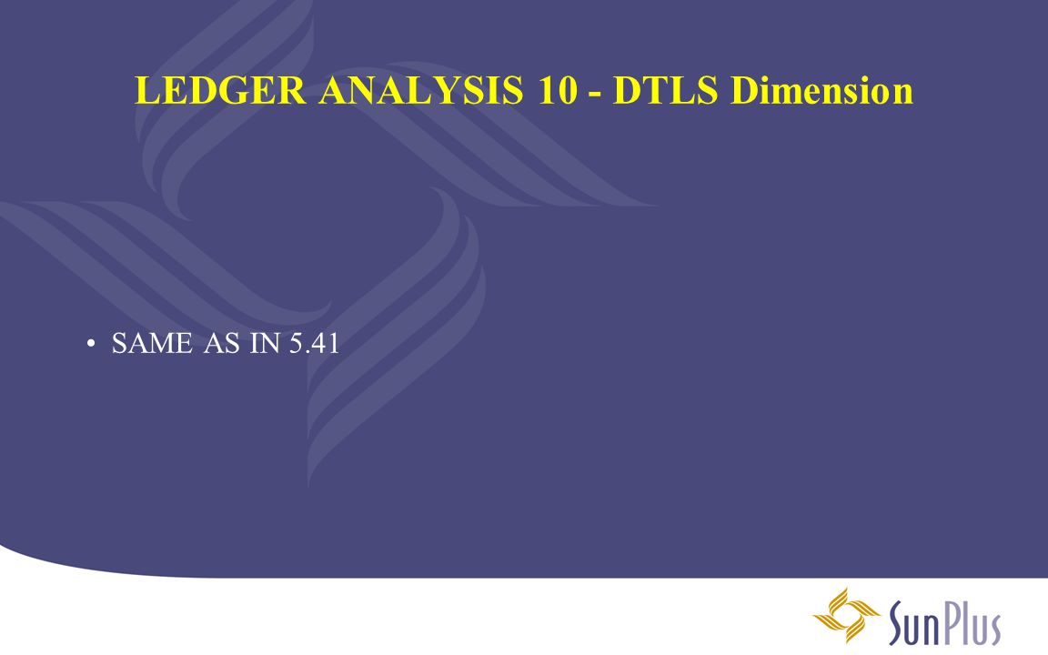 LEDGER ANALYSIS 10 - DTLS Dimension SAME AS IN 5.41