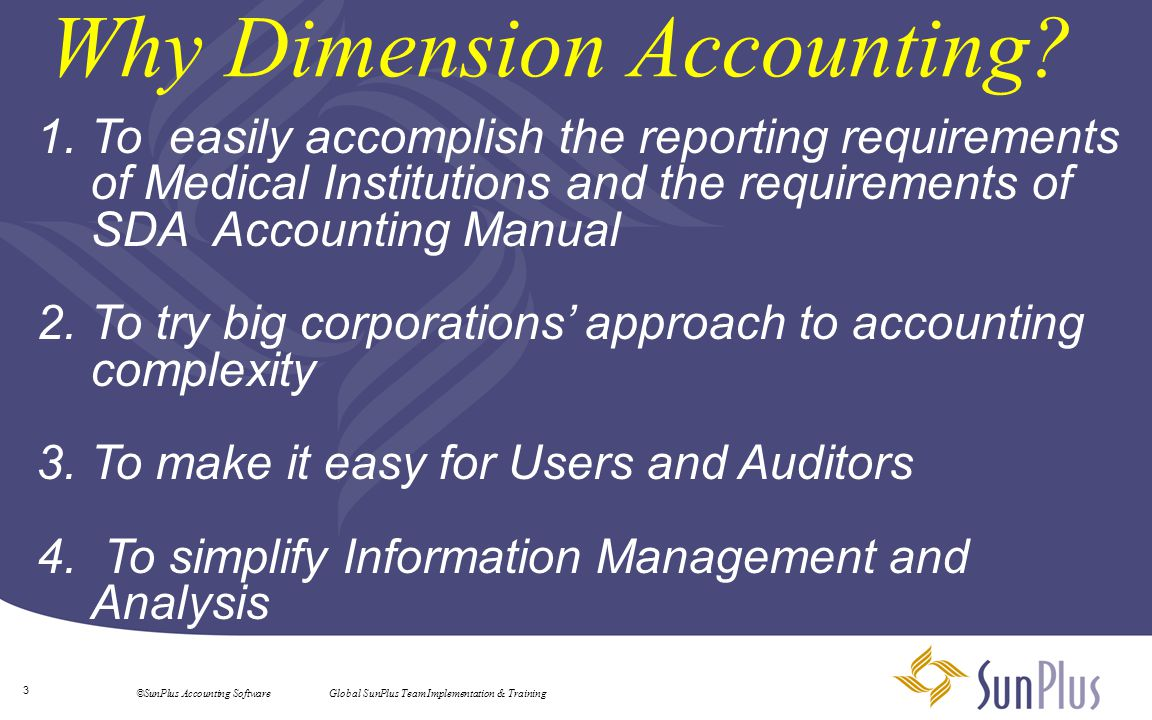 4 ©SunPlus Accounting Software Global SunPlus Team Implementation & Training Activities = Funds Objectives = Functions Limitations = Restrictions 205.02 Definition of Fund Accounting - Fund accounting is the procedure by which resources are classified for accounting and reporting in accordance with activities, objectives, or limitations that are either specified by donors, imposed by outside sources, or designated by the governing committee.