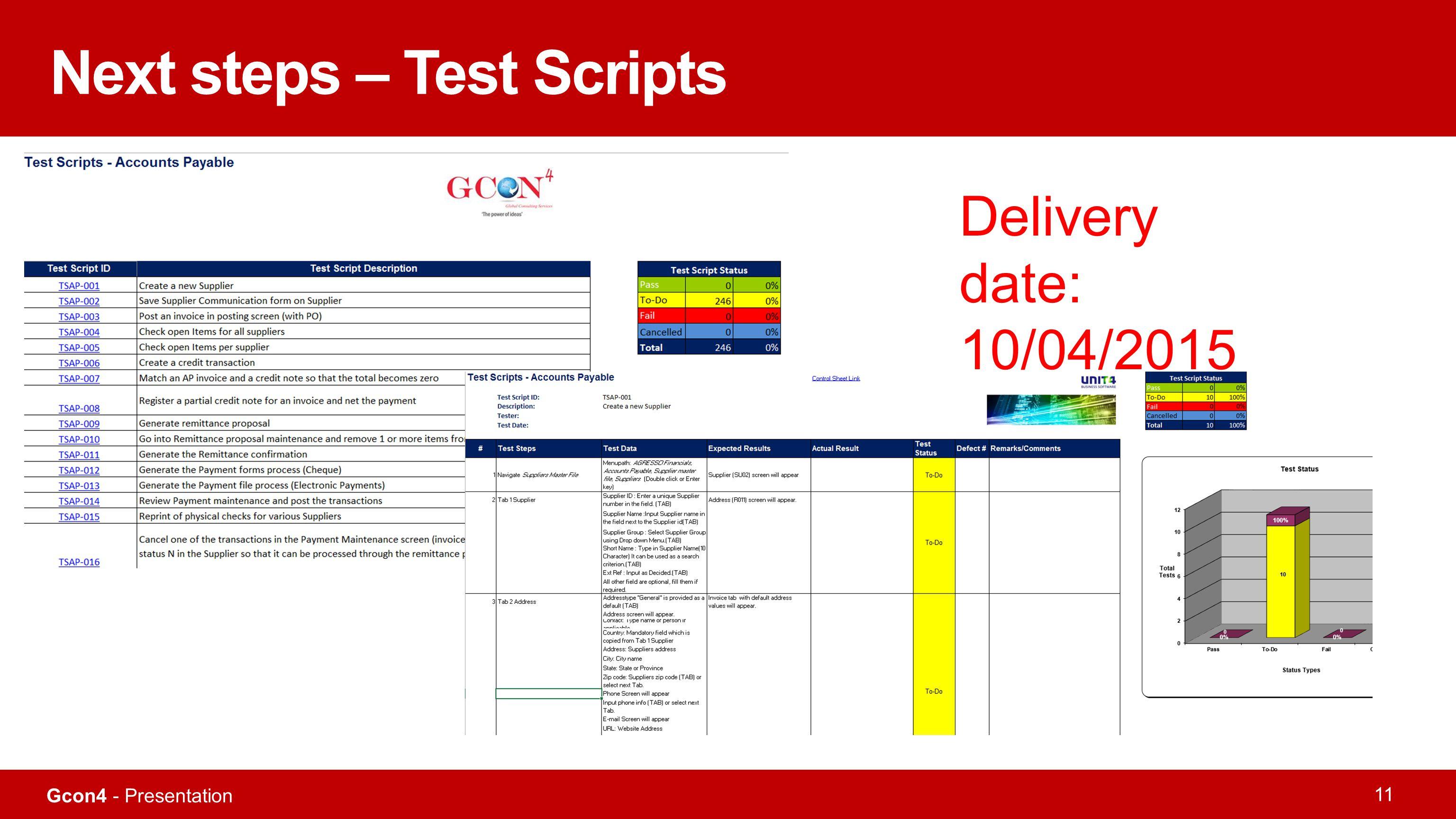 Gcon4 - Presentation 11 Next steps – Test Scripts Delivery date: 10/04/2015