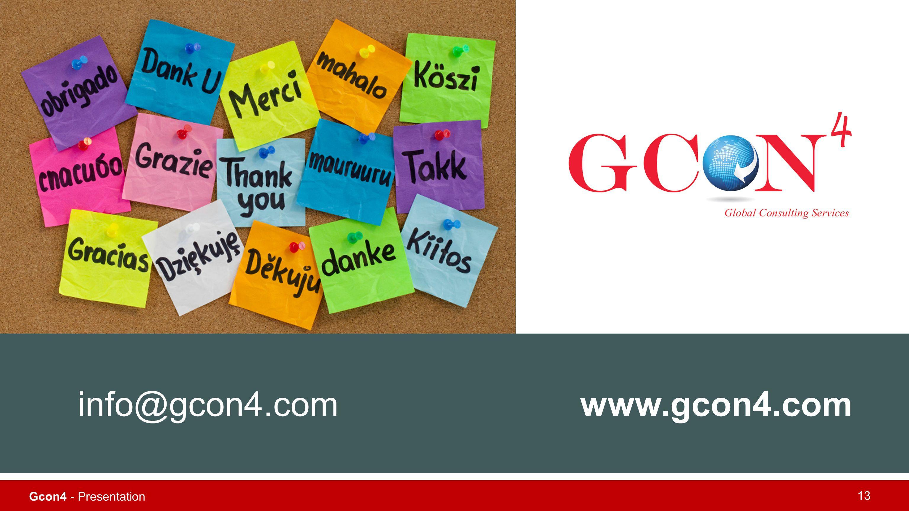 Gcon4 - Presentation 13 www.gcon4.cominfo@gcon4.com