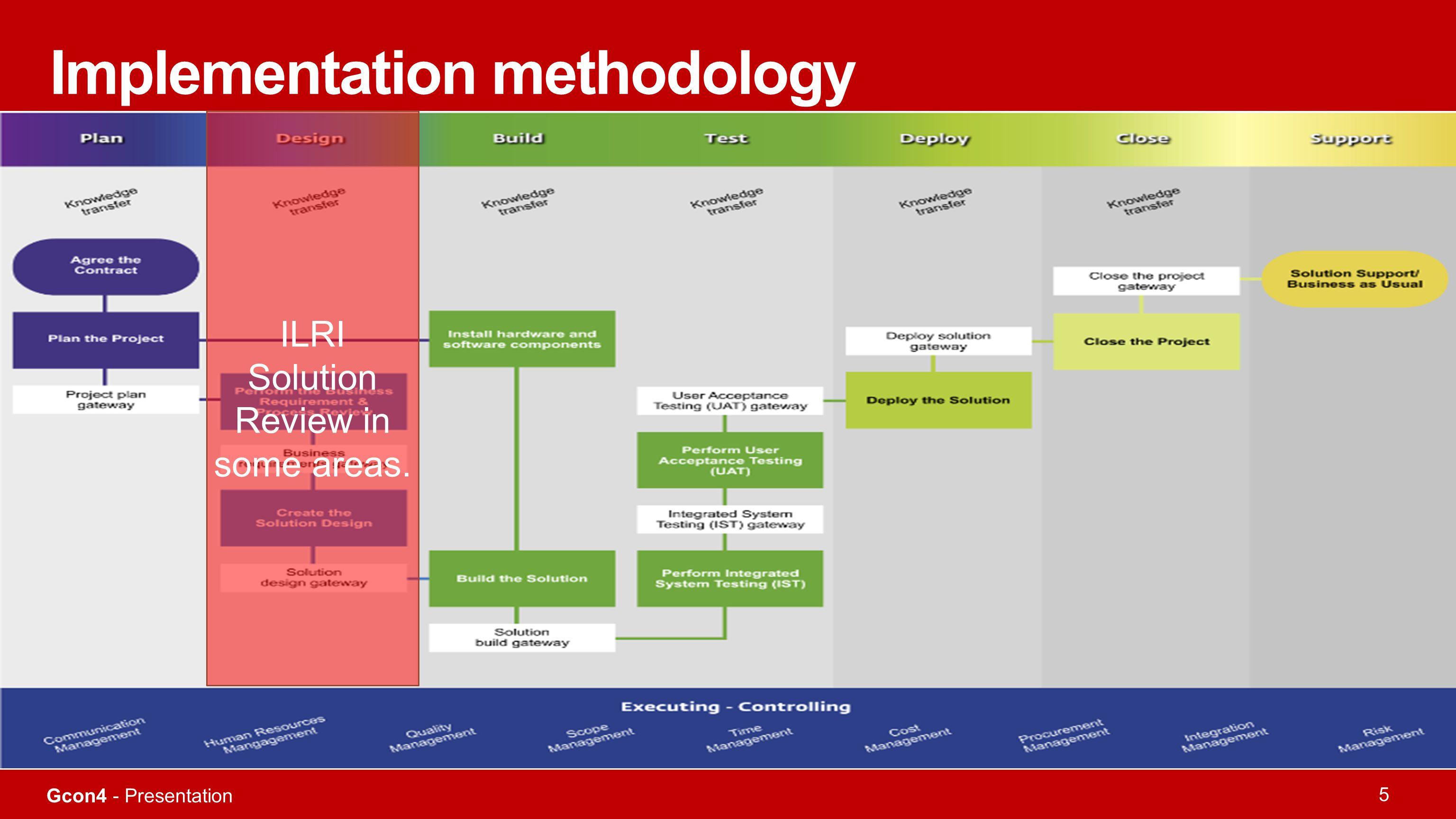 Gcon4 - Presentation 5 Implementation methodology ILRI Solution Review in some areas.