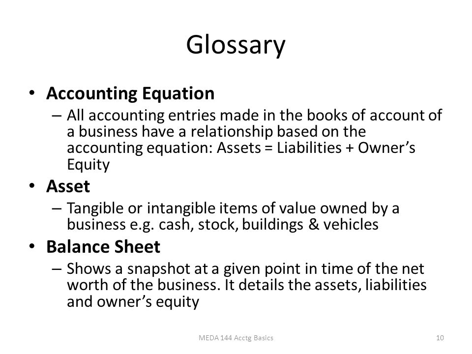 Glossary Accounting Equation – All accounting entries made in the books of account of a business have a relationship based on the accounting equation: Assets = Liabilities + Owner's Equity Asset – Tangible or intangible items of value owned by a business e.g.