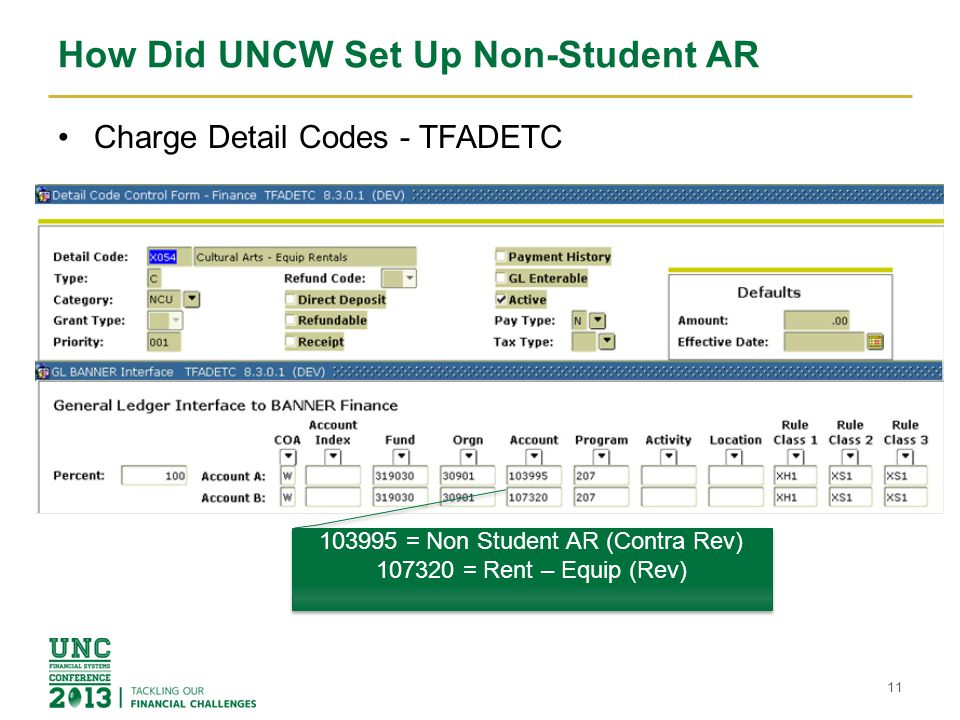 How Did UNCW Set Up Non-Student AR Charge Detail Codes - TFADETC 11 103995 = Non Student AR (Contra Rev) 107320 = Rent – Equip (Rev) 103995 = Non Student AR (Contra Rev) 107320 = Rent – Equip (Rev)