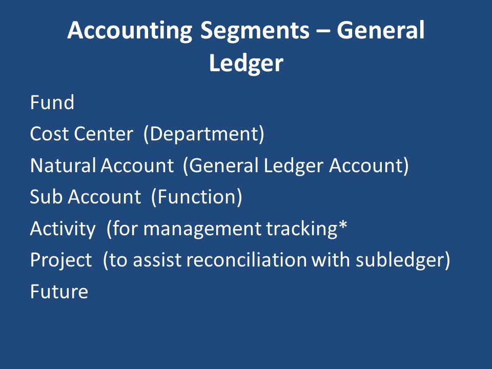 Accounting Segments – General Ledger Fund Cost Center (Department) Natural Account (General Ledger Account) Sub Account (Function) Activity (for manag