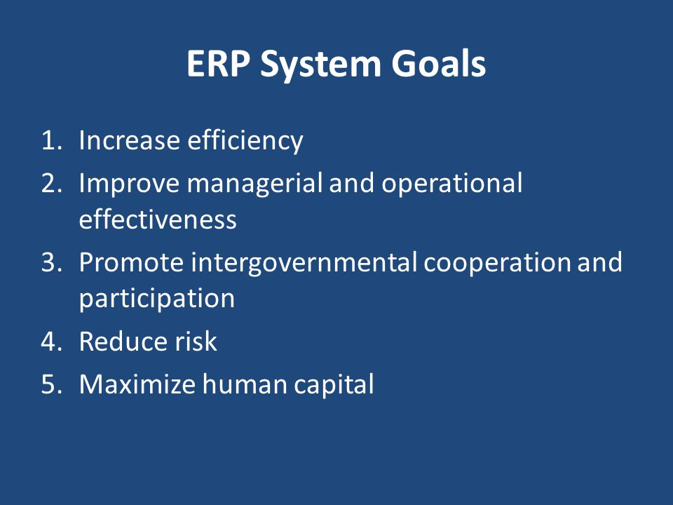 ERP System Goals 1.Increase efficiency 2.Improve managerial and operational effectiveness 3.Promote intergovernmental cooperation and participation 4.