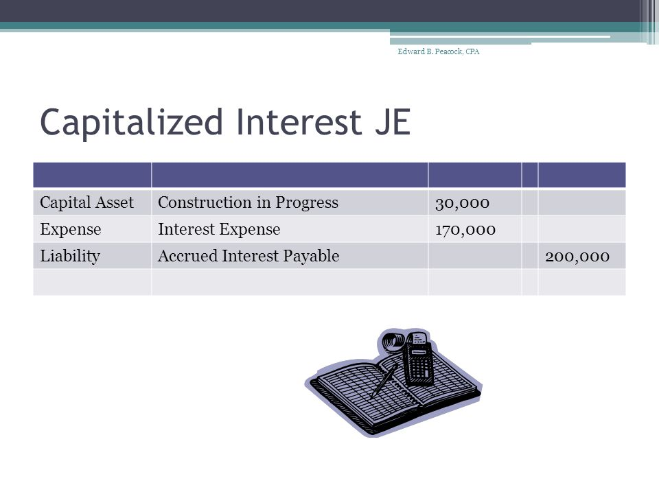Capitalized Interest JE Capital AssetConstruction in Progress30,000 ExpenseInterest Expense170,000 LiabilityAccrued Interest Payable200,000 Edward B.