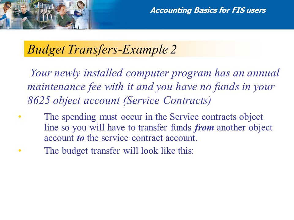 Budget Transfers-Example 2 The spending must occur in the Service contracts object line so you will have to transfer funds from another object account