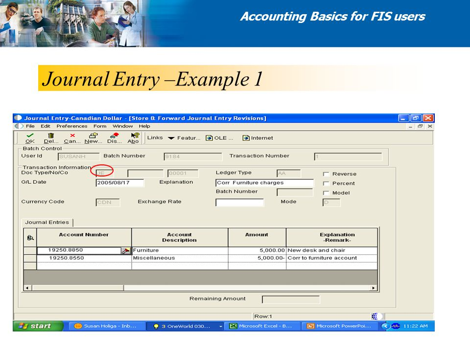 Journal Entry –Example 1 Accounting Basics for FIS users
