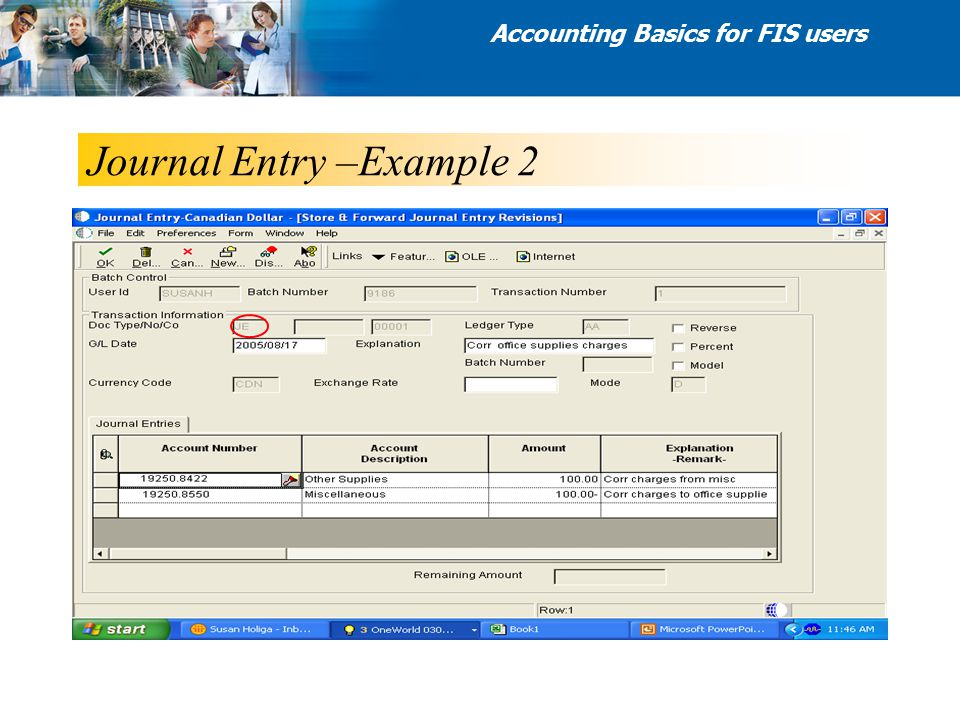 Journal Entry –Example 2 Accounting Basics for FIS users