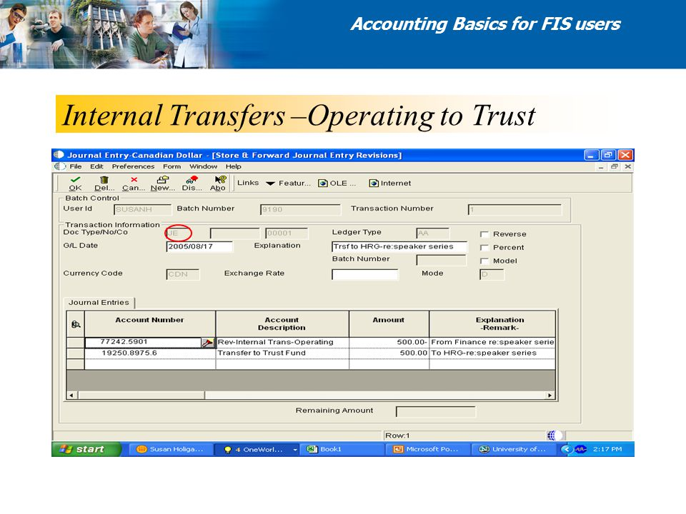 Internal Transfers –Operating to Trust Accounting Basics for FIS users
