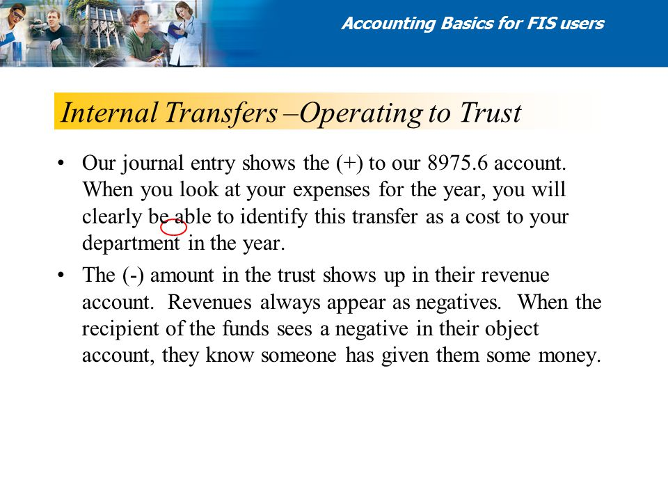 Internal Transfers –Operating to Trust Accounting Basics for FIS users Our journal entry shows the (+) to our 8975.6 account. When you look at your ex