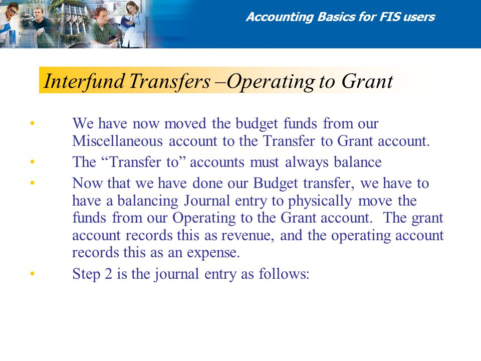 "Interfund Transfers –Operating to Grant We have now moved the budget funds from our Miscellaneous account to the Transfer to Grant account. The ""Trans"