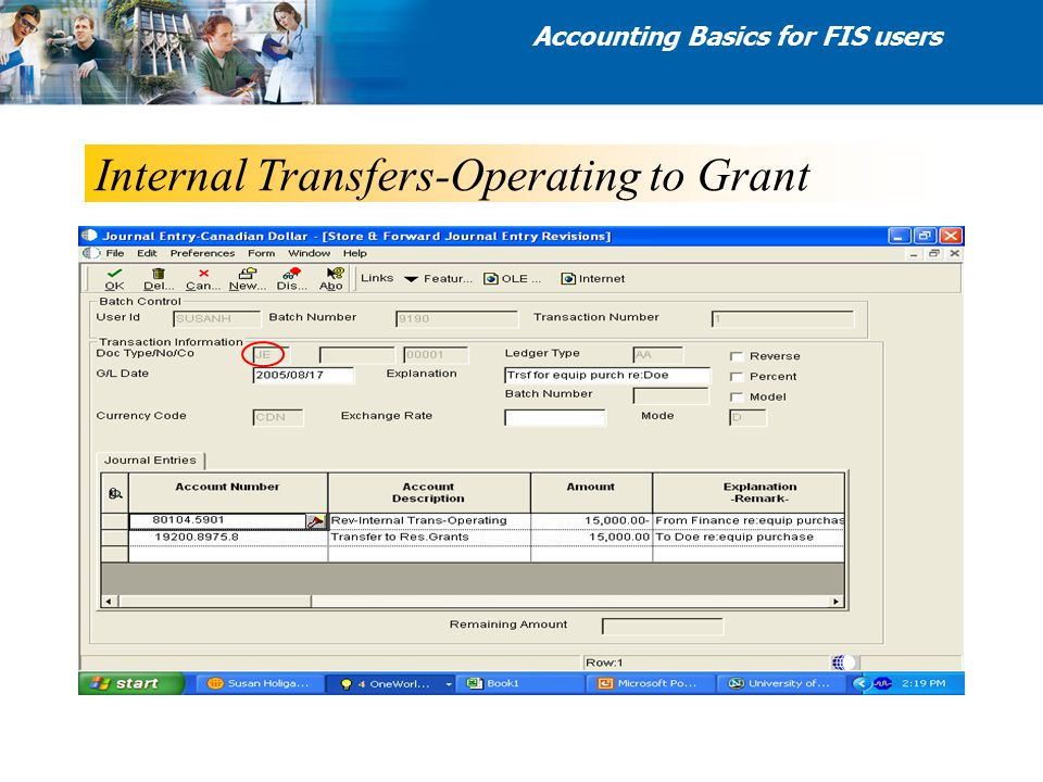 Internal Transfers-Operating to Grant Accounting Basics for FIS users