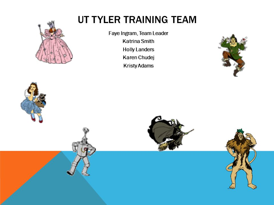 UT TYLER TRAINING TEAM Faye Ingram, Team Leader Katrina Smith Holly Landers Karen Chudej Kristy Adams