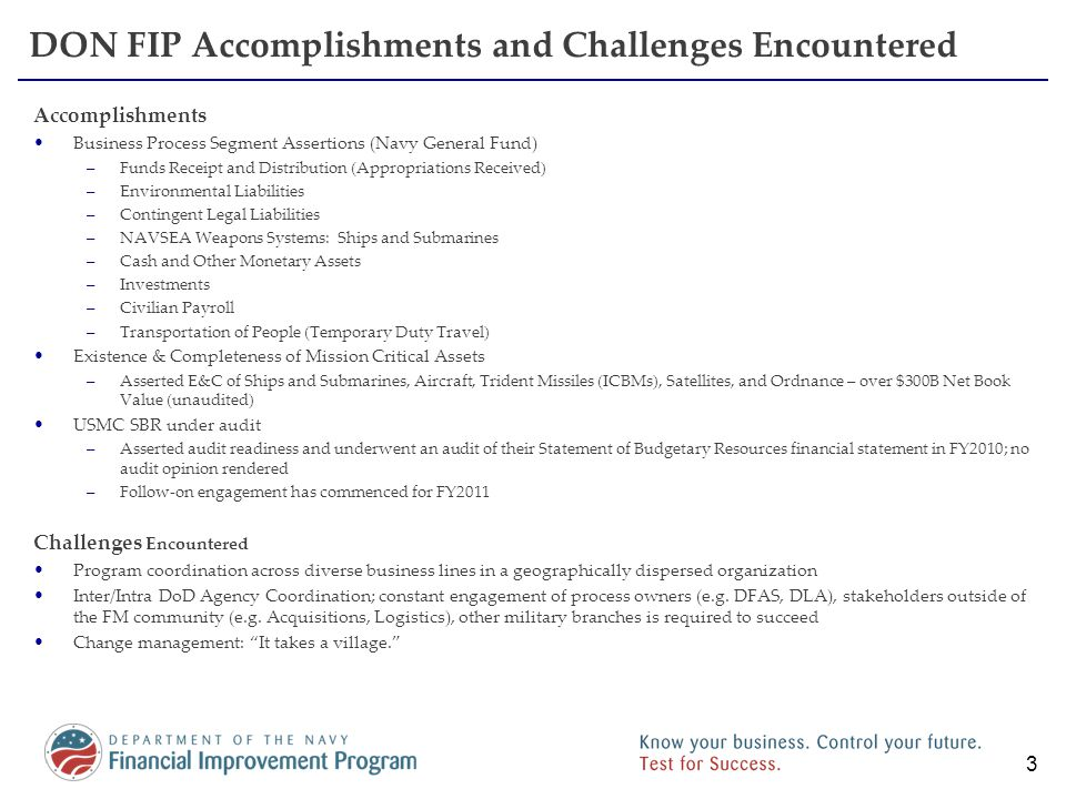 DON FIP Accomplishments and Challenges Encountered Accomplishments Business Process Segment Assertions (Navy General Fund) –Funds Receipt and Distribu