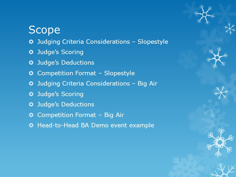 Scope  Judging Criteria Considerations – Slopestyle  Judge's Scoring  Judge's Deductions  Competition Format – Slopestyle  Judging Criteria Considerations – Big Air  Judge's Scoring  Judge's Deductions  Competition Format – Big Air  Head-to-Head BA Demo event example