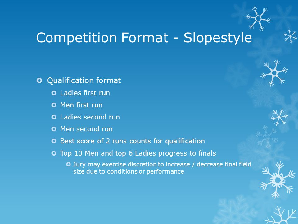 Competition Format - Slopestyle  Qualification format  Ladies first run  Men first run  Ladies second run  Men second run  Best score of 2 runs