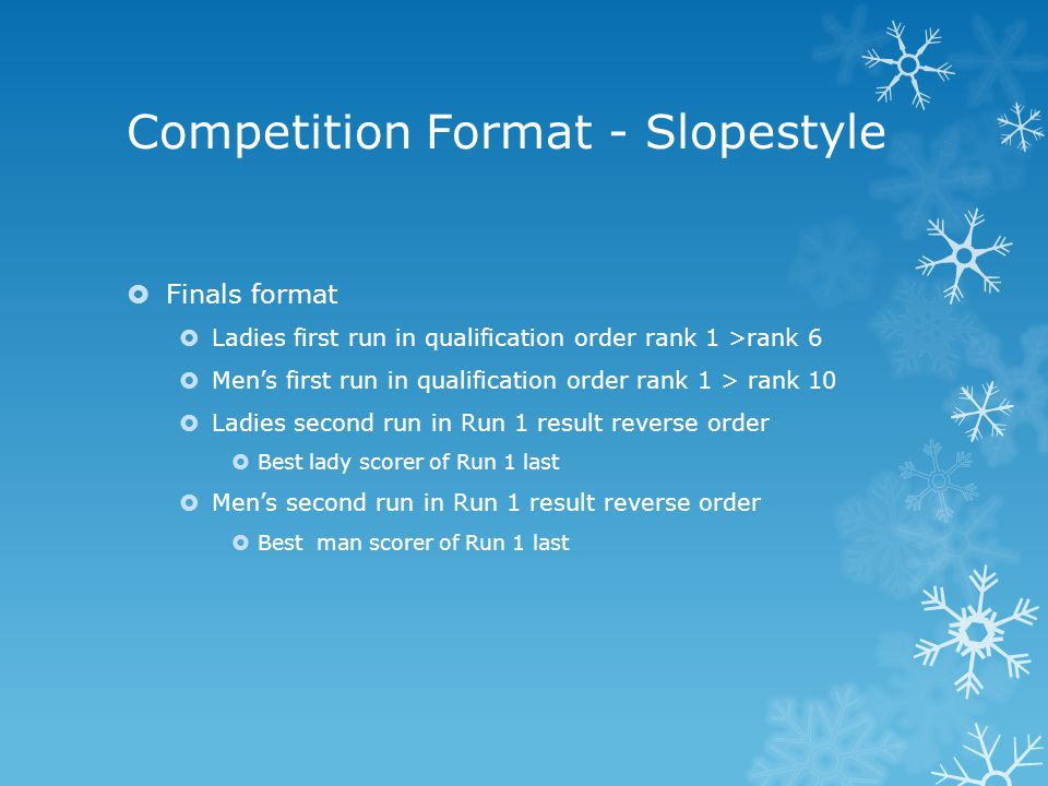 Competition Format - Slopestyle  Finals format  Ladies first run in qualification order rank 1 >rank 6  Men's first run in qualification order rank