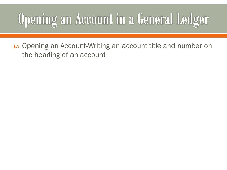  Opening an Account-Writing an account title and number on the heading of an account