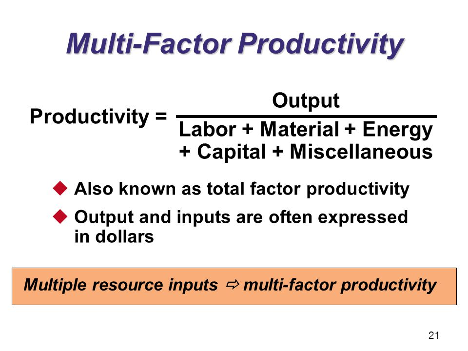 Multi-Factor Productivity Output Labor + Material + Energy + Capital + Miscellaneous Productivity =  Also known as total factor productivity  Output