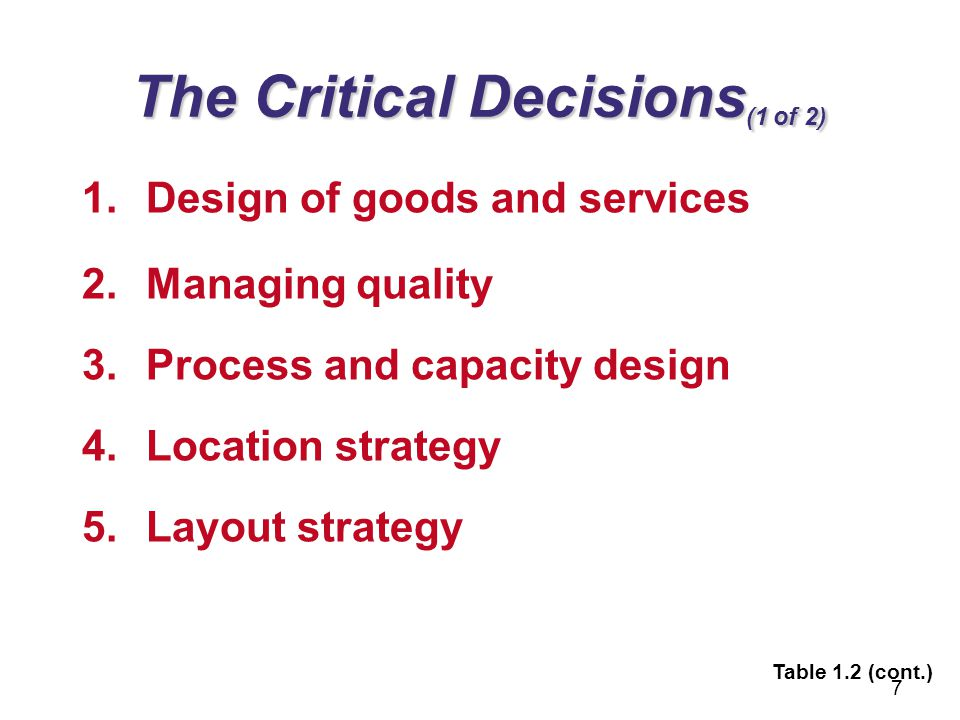 The Critical Decisions (2 of 2) 6.Human resources and job design 7.Supply-chain management 8.Inventory, MRP, and JIT 9.Intermediate & short–term scheduling 10.Maintenance 8