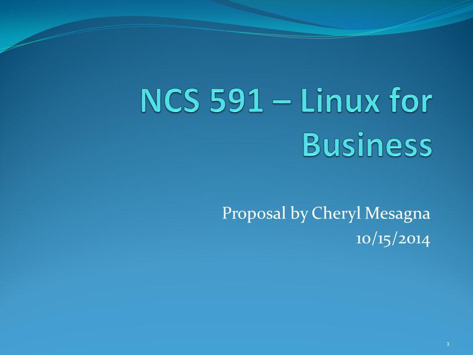 Proposal by Cheryl Mesagna 10/15/2014 1