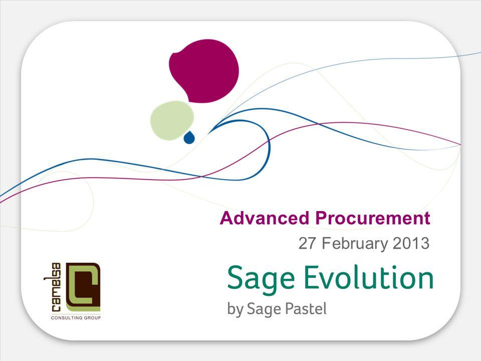 Advanced Procurement 27 February 2013