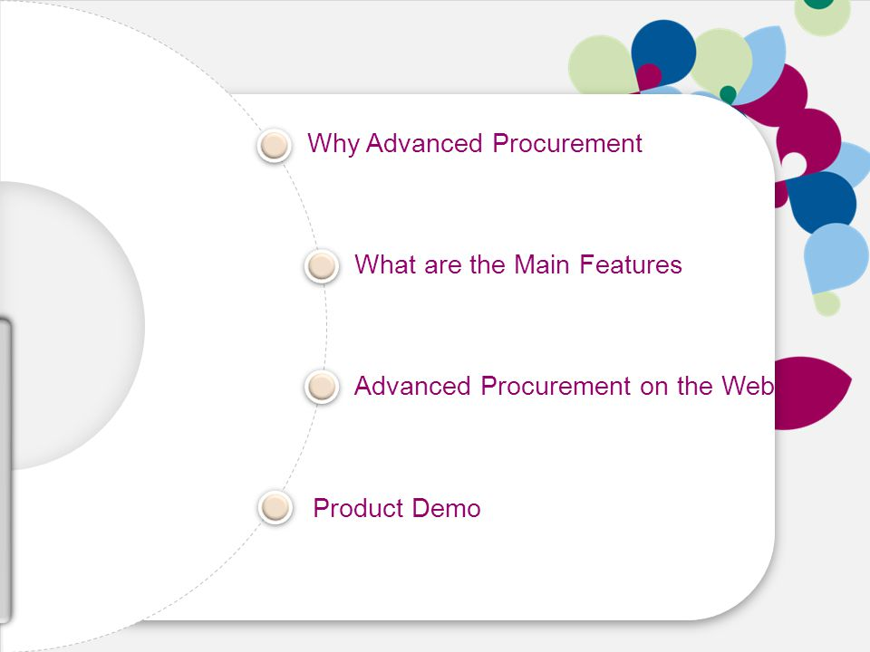 Speed Cost Growth Skill Why Advanced Procurement What are the Main Features Advanced Procurement on the Web Product Demo