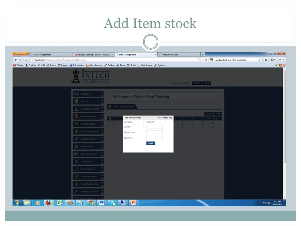 Add Item stock