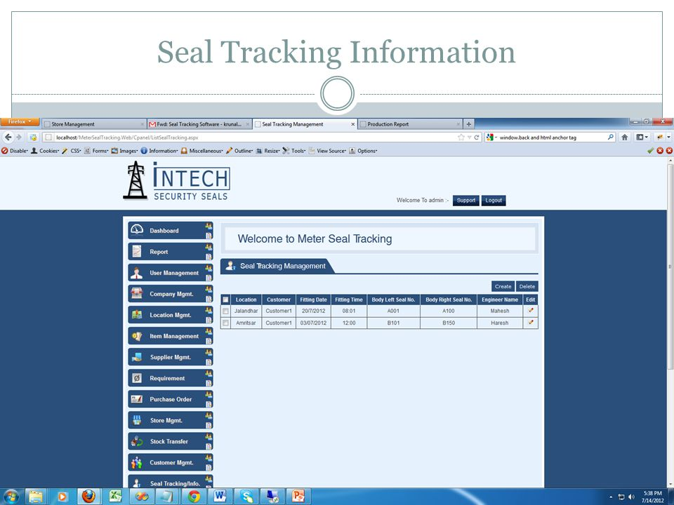 Seal Tracking Information