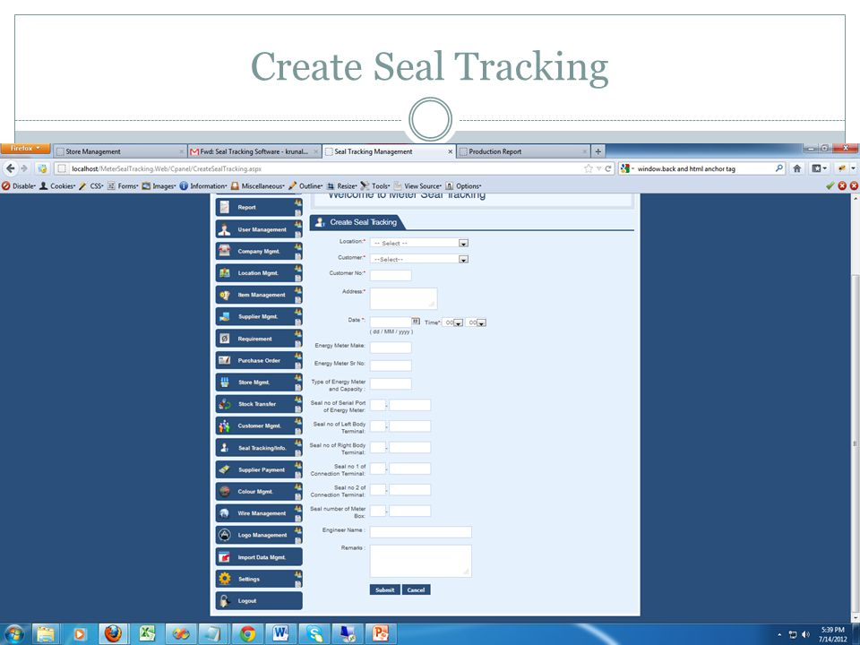 Create Seal Tracking
