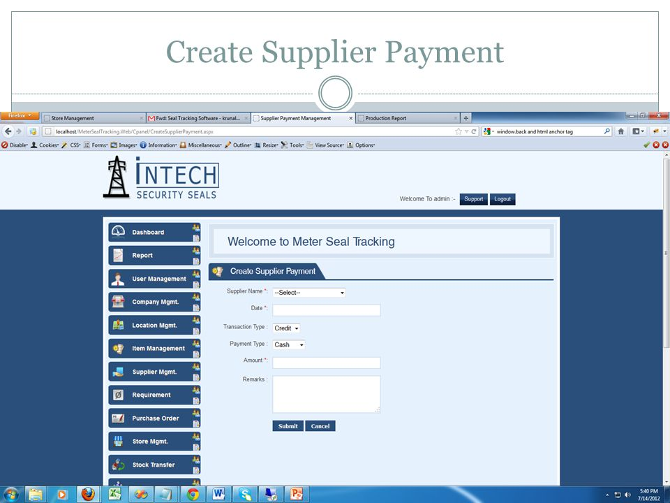 Create Supplier Payment