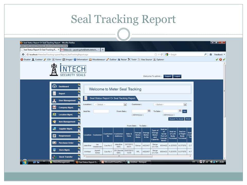 Seal Tracking Report