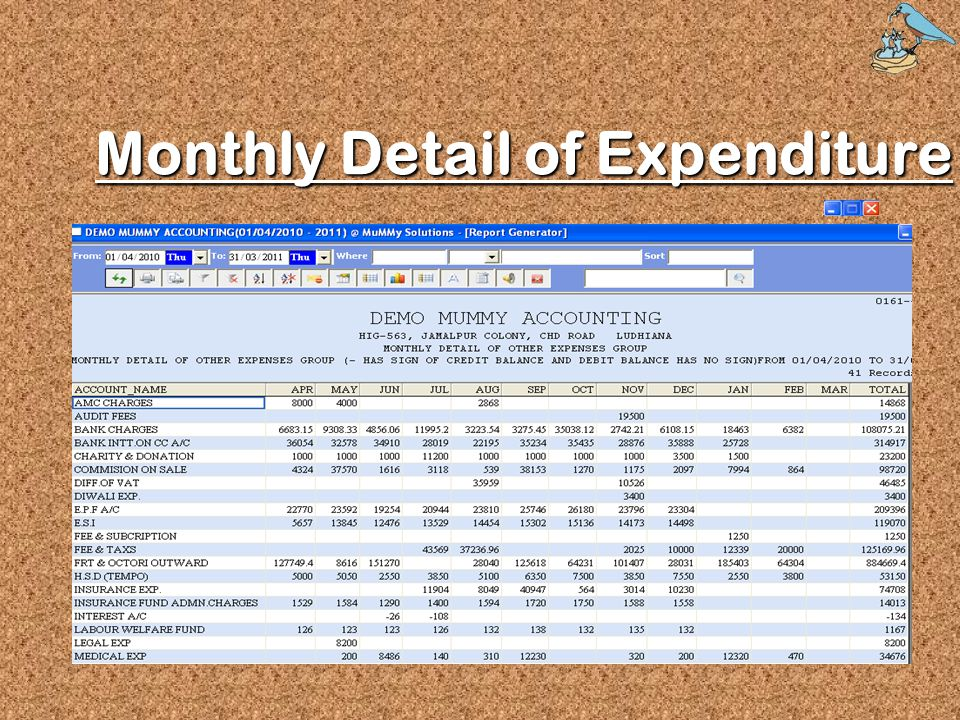 Monthly Detail of Expenditure