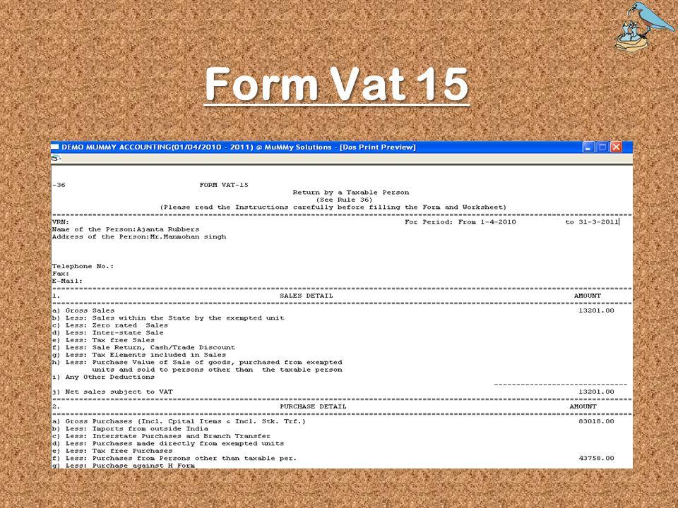 Form Vat 15