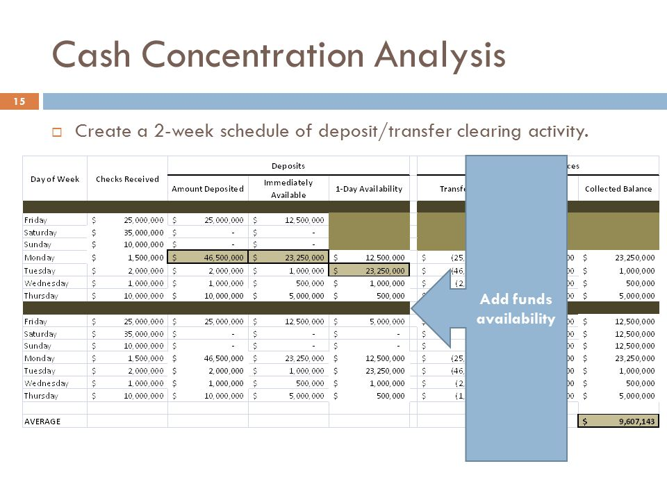 Cash Concentration Analysis 15  Create a 2-week schedule of deposit/transfer clearing activity. Add funds availability