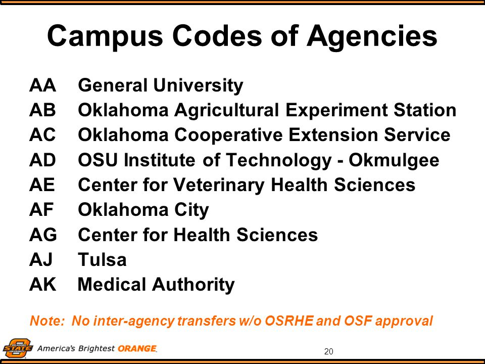 20 Campus Codes of Agencies AAGeneral University ABOklahoma Agricultural Experiment Station ACOklahoma Cooperative Extension Service ADOSU Institute of Technology - Okmulgee AECenter for Veterinary Health Sciences AFOklahoma City AGCenter for Health Sciences AJTulsa AK Medical Authority Note: No inter-agency transfers w/o OSRHE and OSF approval