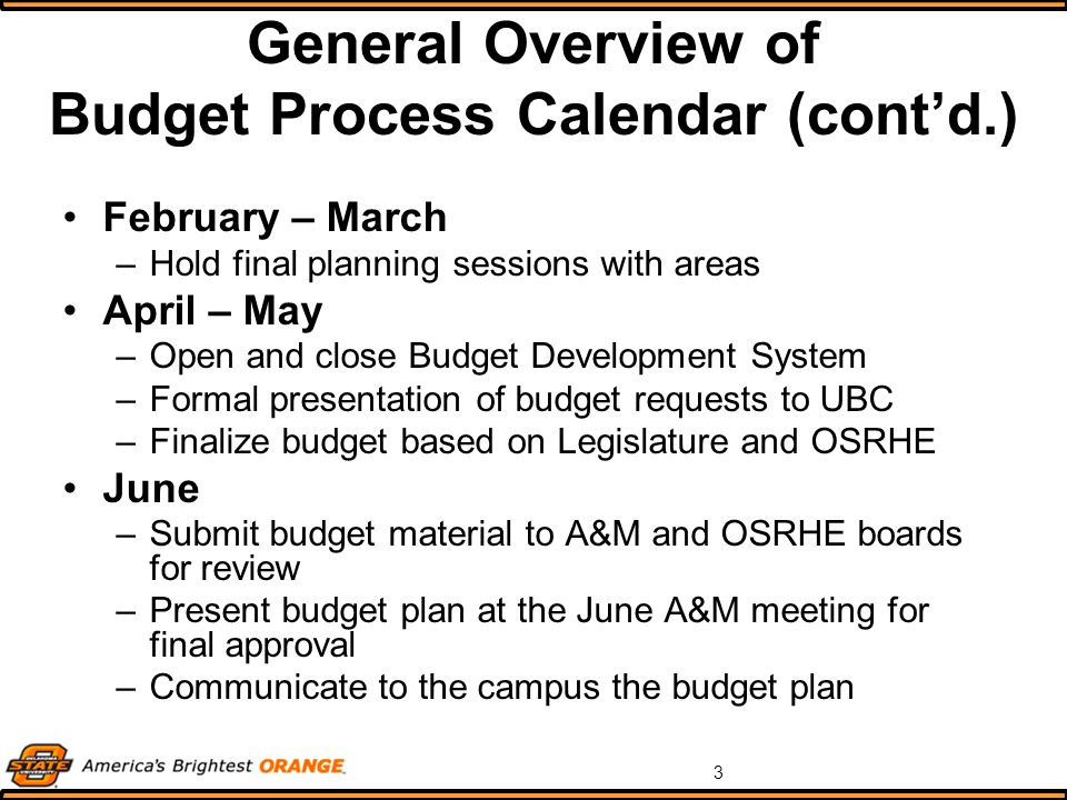 3 General Overview of Budget Process Calendar (cont'd.) February – March –Hold final planning sessions with areas April – May –Open and close Budget Development System –Formal presentation of budget requests to UBC –Finalize budget based on Legislature and OSRHE June –Submit budget material to A&M and OSRHE boards for review –Present budget plan at the June A&M meeting for final approval –Communicate to the campus the budget plan