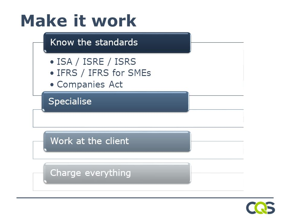 Make it work ISA / ISRE / ISRS IFRS / IFRS for SMEs Companies Act Know the standardsSpecialiseWork at the clientCharge everything