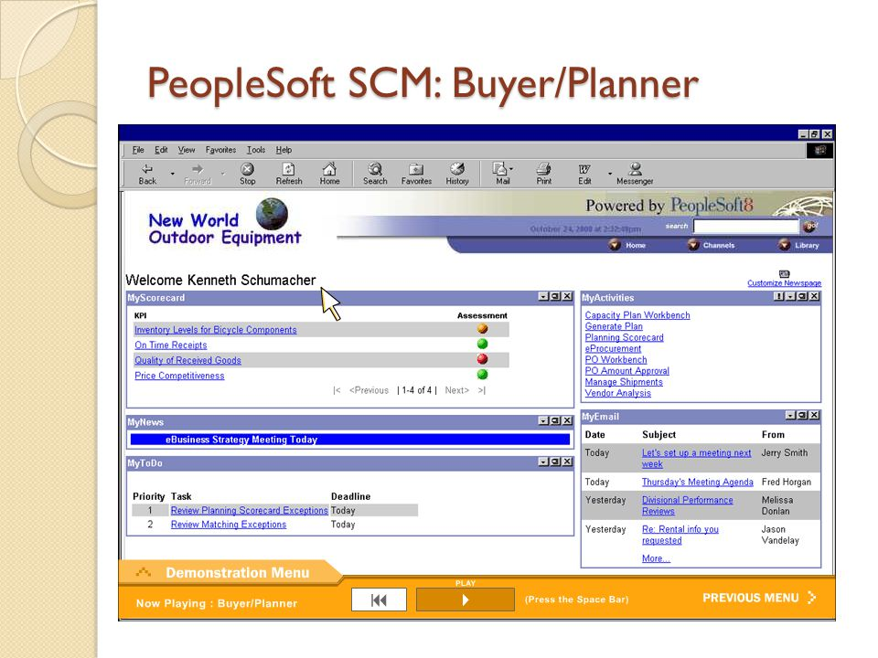 PeopleSoft SCM: Buyer/Planner