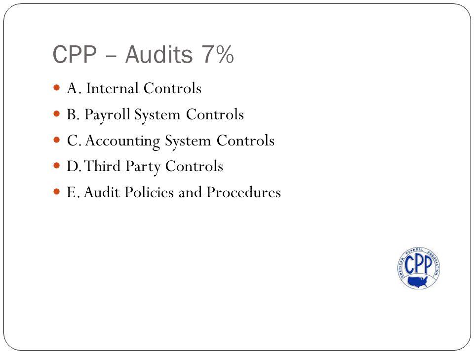 CPP – Audits 7% A. Internal Controls B. Payroll System Controls C.